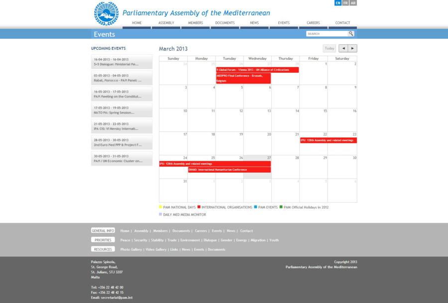 The Parliamentary Assembly of the Mediterranean - Events Page